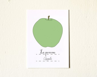 French Nursery Art Green Apple 5x7 Print Baby girl boy - Autumn Fruits Series Botanical Chart French Garden Food illustration children's art