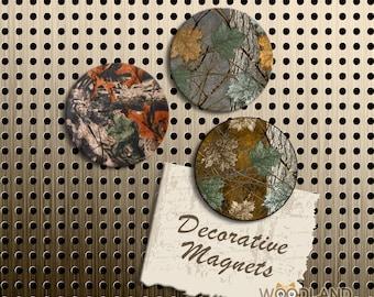 Tree Branch Camo Magnets, Gift Set, Fridge Magnets, Set of 3 Handmade Wood Refrigerator Magnets, Kitchen Decor, Hunting Magnets, Camouflage