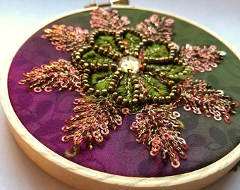 Fiber Art - READY TO SHIP - Repurposed Fabric & Embellishments, Embroidery Art, Colorful Beaded Flower with Purples and Greens
