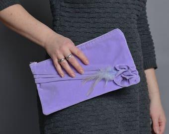 Lilac Velvet Clutch