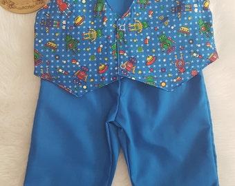 Blue Robot print waistcoat & pants set size 2