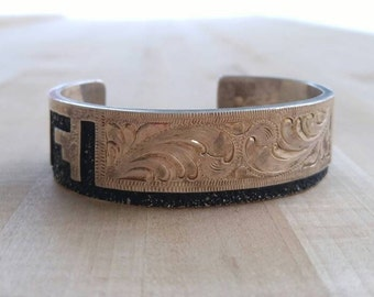 Hand engraved Navajo cuff with Aztec inspiration, Sterling silver Navajo cuff