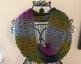 Colorful Muted Crochet Chain Scarf