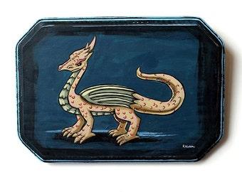 Dragon - Miniature Original Wall Art Acrylic Painting on Wood by Karen Watkins - Dragon Fantasy Painting - Dragon Art