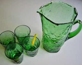 Vintage, Morgantown Crinkle, Pitcher Set, Emerald Green, Crinkleware, Pitcher, Drinking Glasses, Collectible, Set of 5, Vintage Bar, MCM
