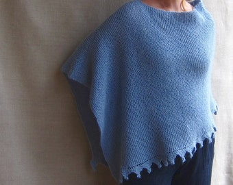 Alpaca Poncho Hand-knit in Sky Blue