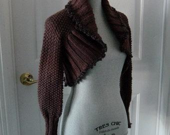 Brown Shrug Jacket - Victorian - Hand Knit Shrug Sweater - Long Sleeved Shrug - Brown Sweater - Shrug Jacket - Costume Shrug