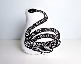 Snake Shaped Throw Pillow. Animal Cushion. Hand Woodblock Printed. Choose Any Color, Customizable. Cute Snake Design.