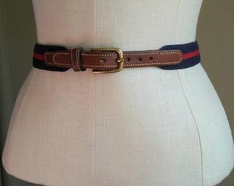 80s Dooney and Bourke belt, navy + red cotton, leather strap, xs 26 inches, dress belt, high waist pants belt