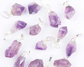 Beautiful Amethyst Untumbled Round Rough Stones Pendent