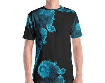 Fractal Clothing, Fractal Men's Clothes, Mandelbrot Clothes, Infinity Clothing, Sacred Geometry Clothes, Men's Fractal Black Aqua T-shirt