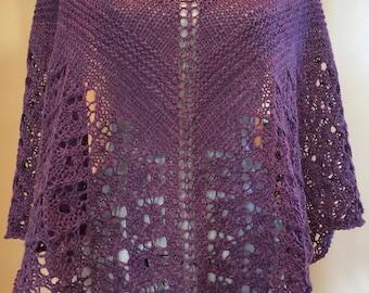 Violet Lace Handknit Shawl