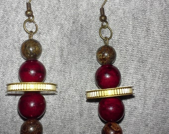 Bronzite and dyed red quartzite earrings