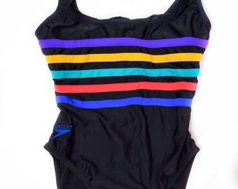 Vintage Black Speedo One Piece Rainbow Racer Swimsuit