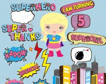 Supergirl clipart  text, Super Hero Pop art Text Clipart 3 (S017)/ comic book style super hero clip art /Super Hero bubble