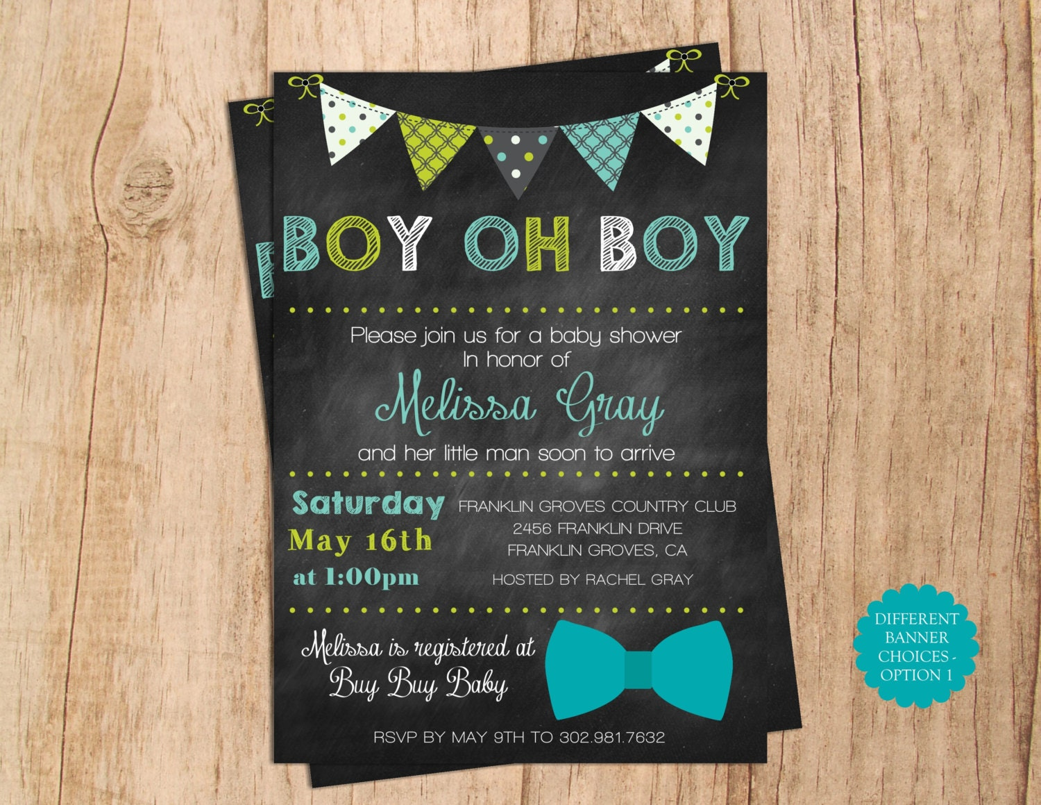 Boy Oh Boy Baby Shower Invitation . Banner with Green Blue