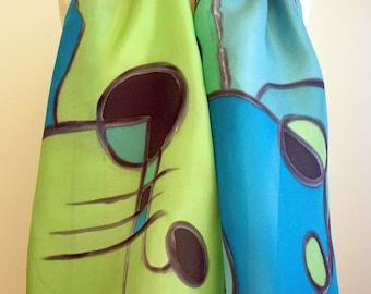 Hand Painted Silk Scarf. Woman Silk Scarf. Hand Painted Silk Shawl. Wedding Gift. 55x18.Giveaways. Green-Blue silk scarf, Silk shawl