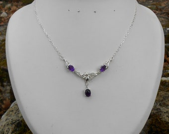 Amethyst necklace, 925 Silver necklace, silver necklace, Amethyst pendant necklace women, gift for her