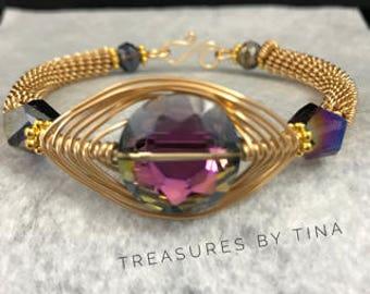 Wire Coiled Bracelet, Herringbone Bracelet, Gold Wire Bracelet, Gemstone Bracelet, Gift For Her