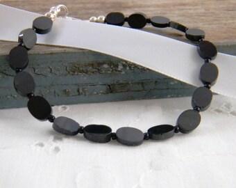 Jet black bracelet, black spinel bracelet, delicate, feminine, black gemstone bracelet, beaded bracelet, sterling silver