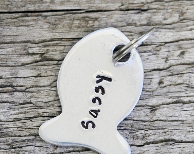 "Custom Double Sided Cat Tag - 1"" Aluminum Fish Pet Tag - Hand Stamped Pet ID Tag"