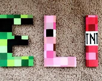 Minecraft Nursery Letters   Hand Painted   Custom Painted Letters    Chipboard   Pig   Creeper