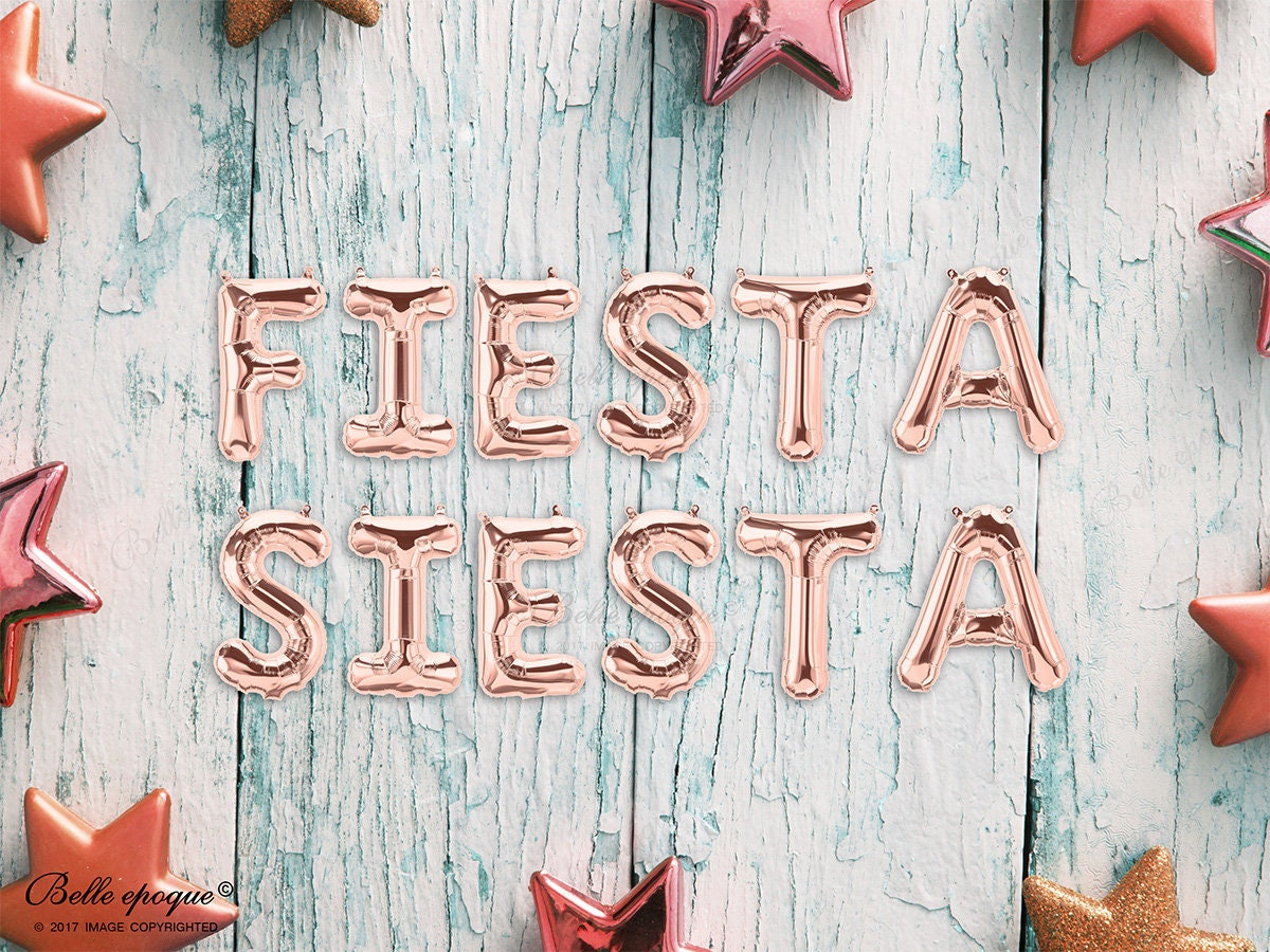 Rose Gold Balloons FIESTA SIESTA Party Mylar, Gold Silver Letters ...