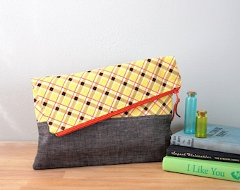 Fold over Clutch, Evening Bag, Zipper Purse, Everyday Clutch, Women's Purse, Zipper Pouch in Gray Linen with Yellow and Orange Plaid Fabric
