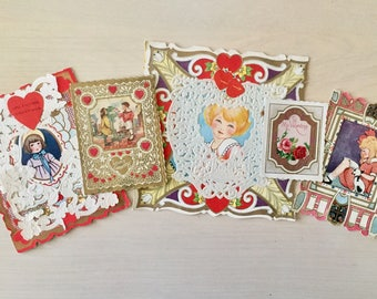Vintage Valentine's Day Cards - Set of 5 - 1920's