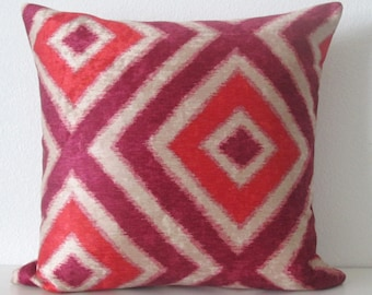 Geo Diamond Ruby colorful red pink fuchsia velvet ikat decorative pillow cover