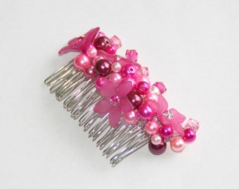 Pearl Flower Hair Comb rose