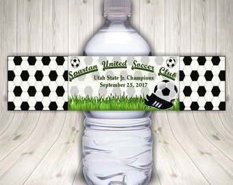 Soccer Water Bottle, Custom Soccer Bottle, Soccer Party Favors, Soccer Party Decor, Soccer Team Mom, Soccer Party, Soccer Labels, Sports