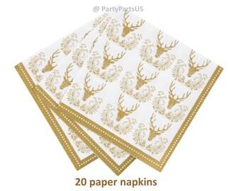 gold deer napkins, golden buck, stag napkins, woodland wedding, grooms cake table, bachelor party, outdoors theme, graduation, retirement