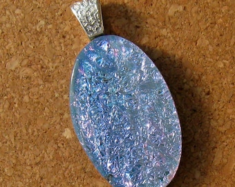 Blue Dichroic Pendant - Fused Glass Pendant - Glass Jewelry - Glass Pendant - Dichroic Jewelry