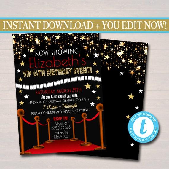 EDITABLE Red Carpet Birthday Invitation Hollywood Movie Party