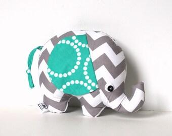 Gray and White Chevron Baby Boy Gift, Stuffed Elephant Plush Softie