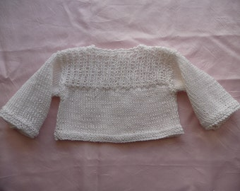 Top pure cotton knit White hand-made