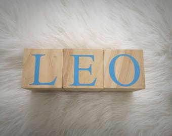 """3"""" Extra Large Personalized Baby Name Blocks - Wooden Letter Blocks - Shower Gift - Photo Prop - Hand Painted and Natural Wood"""