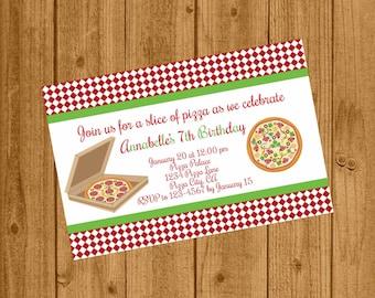 Pizza Party Birthday Invitation, Girls Pizza Party Invitation, Girls Birthday Party Invitation, 127