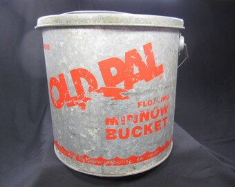MINNOW Bucket / OLD PAL / Vintage / Let's Go Fishing