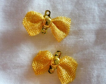 2 connectors 16x10mm gold bows