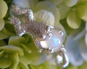 Frog Moon Sterling Silver Pendant with Top Quality Natural Blue Sheen Moonstone, Only at Heart of Water Jewels, Made to Order