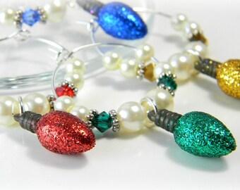 Christmas Wine Charms Crystal Hostess Gift Holiday Wine Charms Stocking Stuffer Set of 5