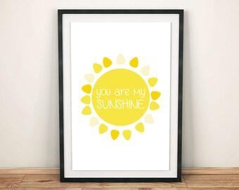 You Are My Sunshine Print, Nursery Wall Decor, Baby Nursery Poster, Yellow Nursery Art, Baby Shower Gift, Children's Room Print, Kids Print