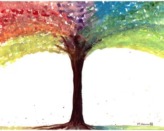 Tree art watercolour painting Rainbow tree original watercolor, 12 x 9 inches one of a kind