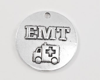 Antique Silver Tone EMT Charm.. First Responder Charms.. EMT Charm....