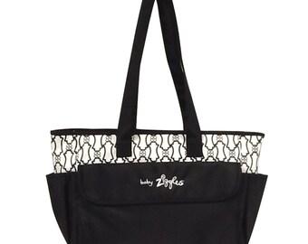 91923-GORGEOUS ANTIQUE;PRINT black & white diaper bag
