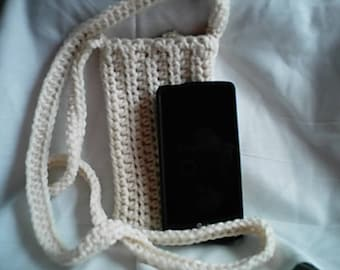 Natural Cross Body Cell Phone Pouch Cozy Crochet