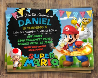Birthday Invitation, Super Mario Bros Birthday Invitation, SUPER MARIO INVITATION, Super Mario Brother Invitation, Super Mario Brothers