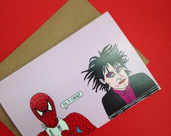 Robert Smith of The Cure Greetings Card From Full Colour Original Illustration Funny Lyric Pop Post Punk Goth Alt Music Musician Band